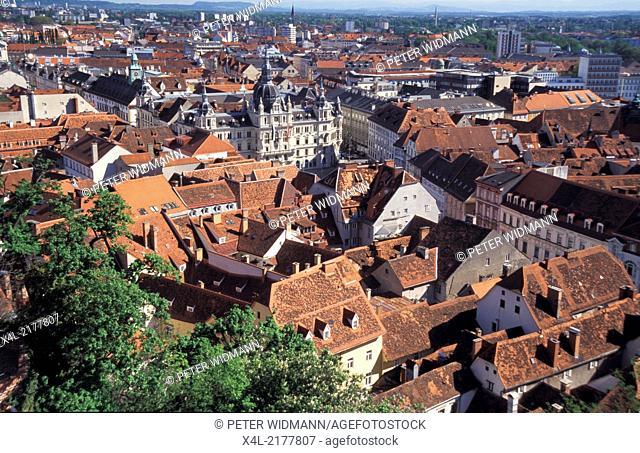 Graz, city view, square with city hall, Austria, Styria