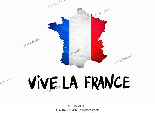 Vive la France message and national French Republic flag overlaid on detailed outline map isolated on white background vector art