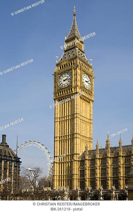 Big Ben, Clock tower of the Houses of Parliament / Palace of Westminster, The London Eye, London, UK, Europe