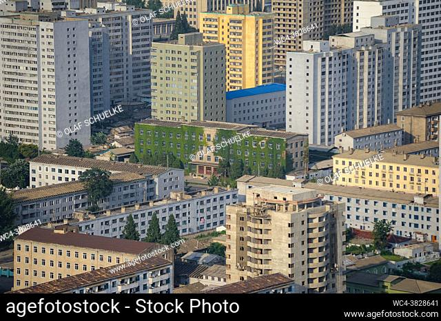 Pyongyang, North Korea, Asia - Cityscape with residential buildings in the city centre of the North Korean capital as seen from the viewing platform of the...