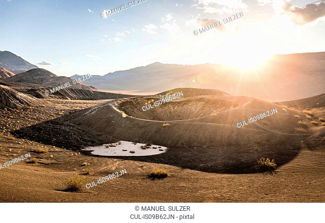 Sunlit landscape at Ubehebe Crater in Death Valley National Park, California, USA