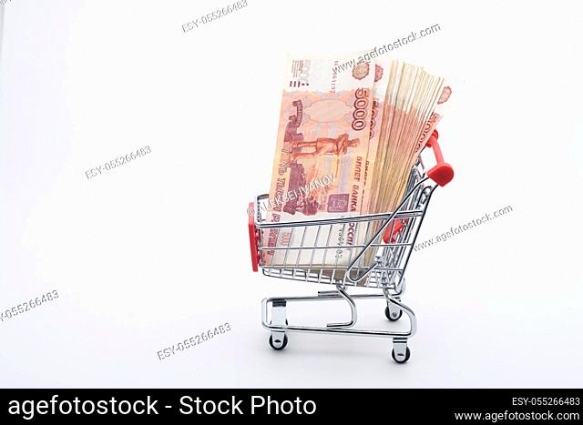 There is a bundle of Russian money in the grocery cart