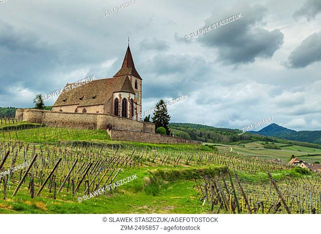 The village of Hunawihr before a storm, Alsace, France
