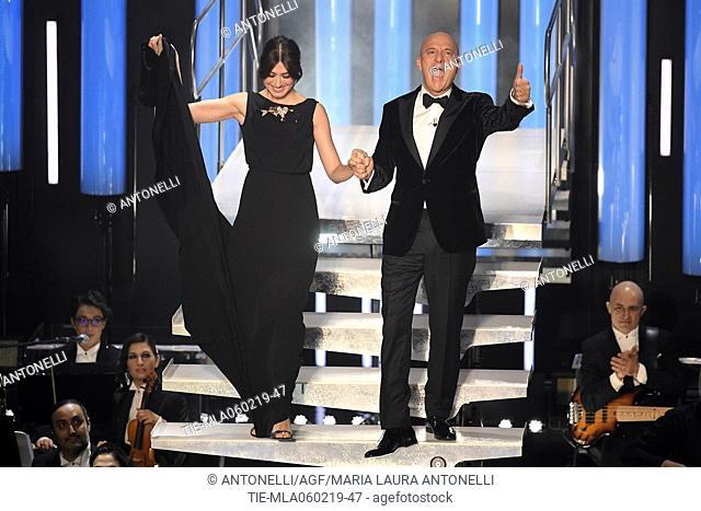 Virginia Raffaele, Claudio Bisio during Sanremo second evening. 69th Festival of the Italian Song. Sanremo, Italy 06 Febr 2019