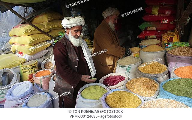 grain and seeds market in kabul, afghanistan