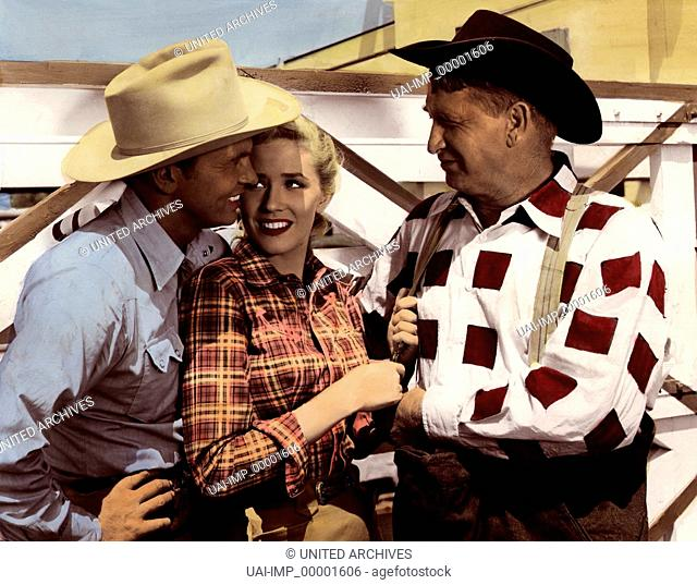 Bronco Buster, (BRONCO BUSTER) USA 1952, Regie: Budd Boetticher, JOHN LUND (li), CHILL WILLS (re)