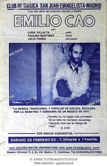 Emilio Cao, Madrid 1983 tour, Musical concert poster