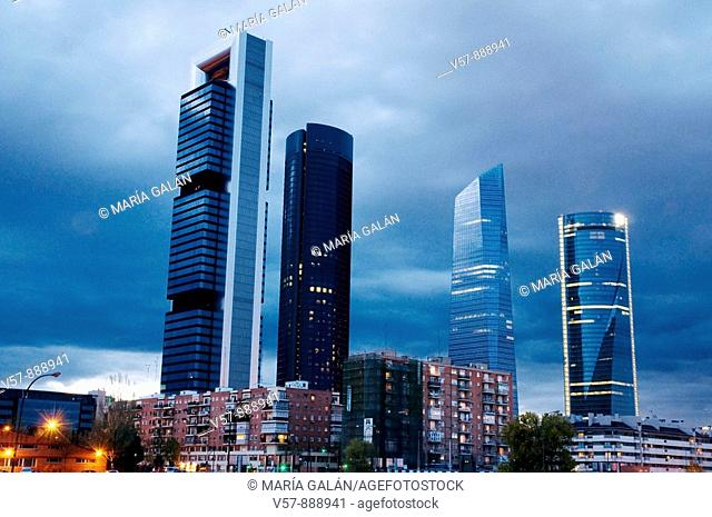 Cuatro Torres Business Area at evening. Madrid, Spain