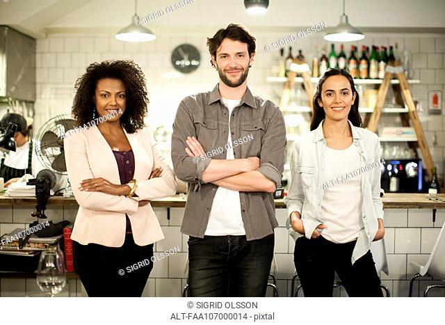 Restaurant business partners, portrait