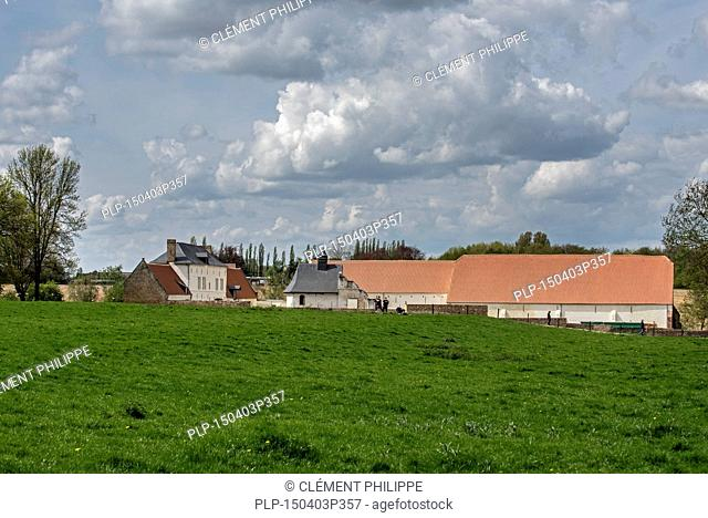 Château d'Hougoumont, farmhouse where British and other allied forces faced Napoleon's Army at the Battle of Waterloo on June 18, 1815, Braine-l'Alleud, Belgium