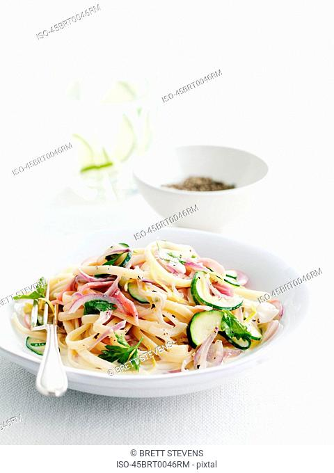 Plate of pasta and vegetables