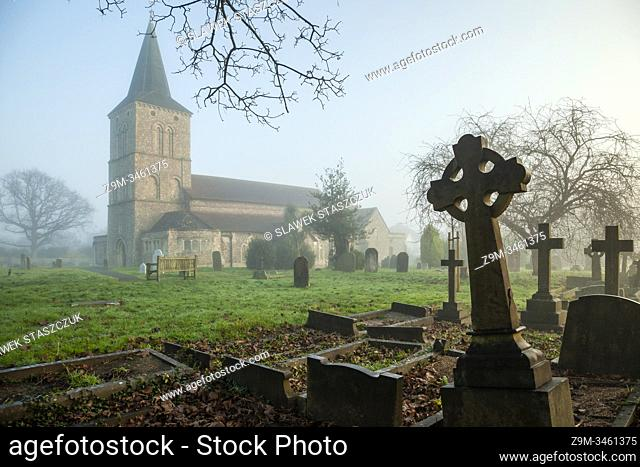 Foggy winter morning at St Michael's church in Southwick, West Sussex, England