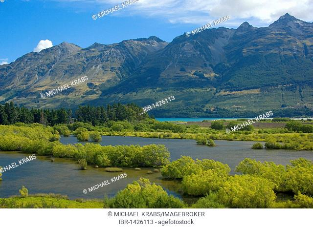 Mountain landscape, valley of the Dart River surrounded by high mountains, including summits of the Mount Aspiring National Park in Glenorchy, Queenstown, Otago