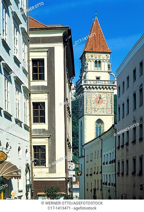Germany, Passau, Danube, Inn, Ilz, Bavarian Forest, Lower Bavaria, Bavaria, old town, residential buildings, old city hall, city hall tower, bell tower
