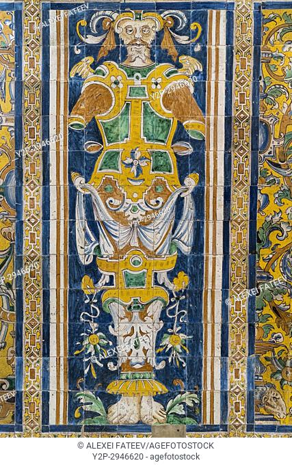 Decoration of Gothic Palace in Alcázar of Seville. Seville, Andalucía, Spain
