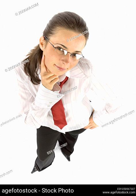 isolated thinking businesswoman