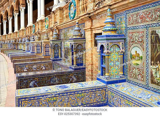 Seville Sevilla Plaza de Espana provincial bench Andalusia Spain square