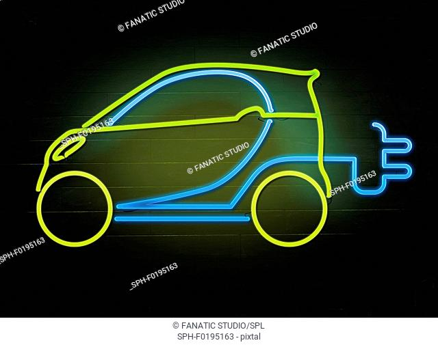 Illustration of electric car and plug