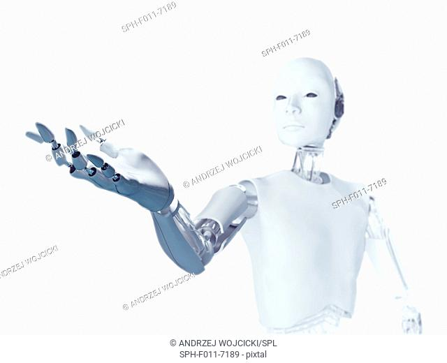 Robot with arm extended, computer illustration