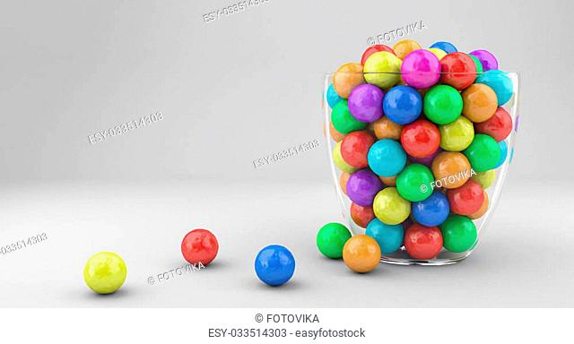Illustration of a glass vase with multicolored candies
