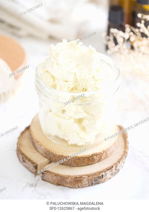 Homemade all natural organic body butter (with cacao, shea, mango, and coco butters, olive, sweet almond, and avocado oils, fresh aloe vera, and E vitamin)