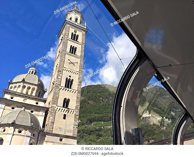 Italy, Lombardy, Valtellina, Tirano, Sanctuary of the Madonna di Tirano View From Bernina Express Train.