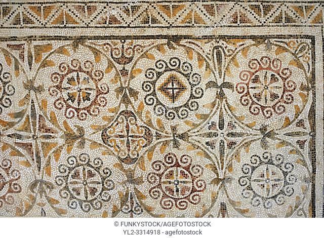 Pictures of a geometric Roman mosaics design, from the ancient Roman city of Thysdrus. 3rd century AD. El Djem Archaeological Museum, El Djem, Tunisia