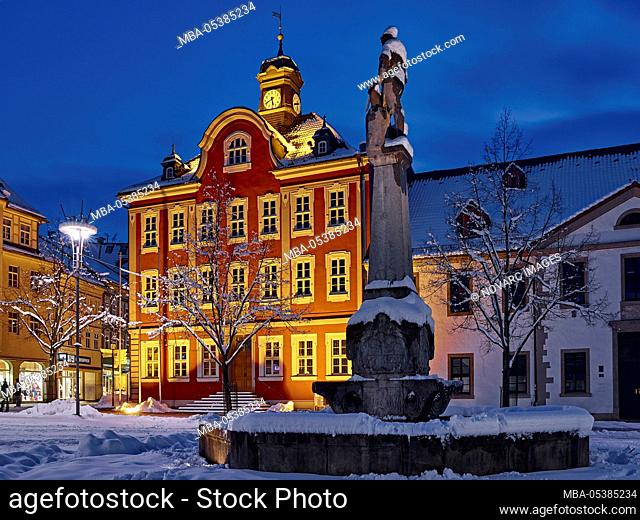 Town hall at the market square with armourers fountain in Suhl, Thuringia, Germany