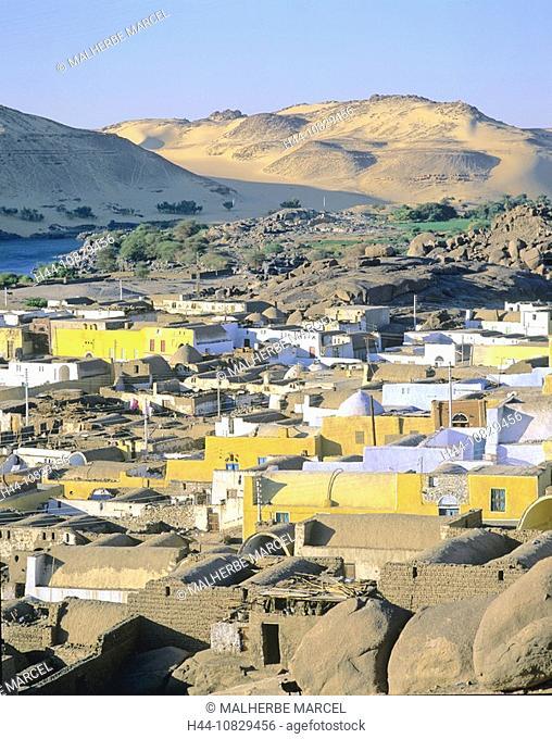 Egypt, North Africa, Aswan, Sahel island, isle, Nubier, settlement, village, Nile, river, flow, overview, desert