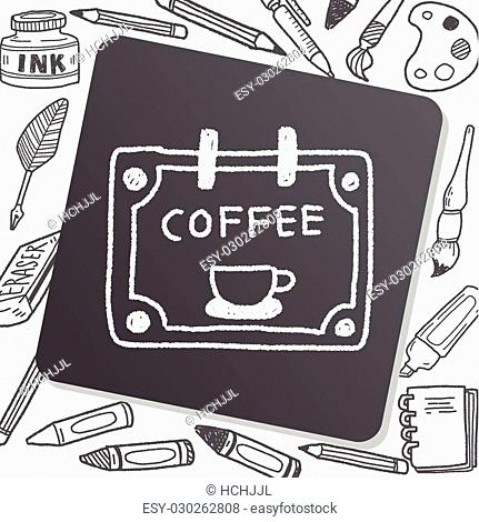 coffee shop sign doodle drawing