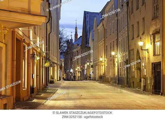 Winter evening in Tallinn old town, Estonia