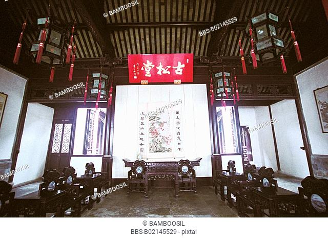 The old pine hall in the old pine garden in old Mudu Town, Suzhou City, Jiangsu Province of People's Republic of China