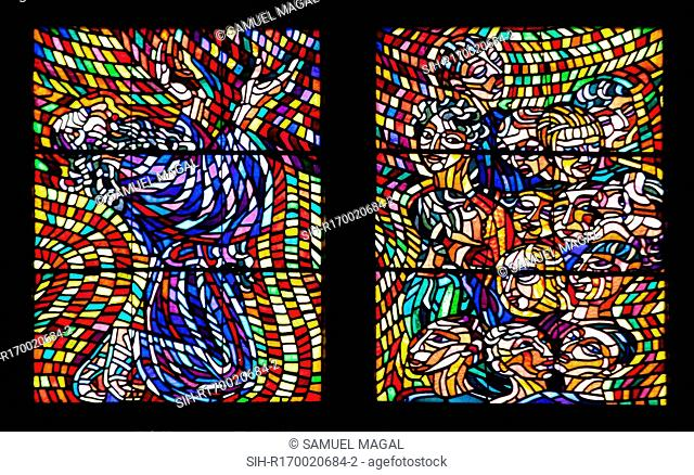 Part of a stained glass window in the Schwarzenberg Chapel, St Vitus Cathedral, Prague, Czech Republic, depicting biblical scenes