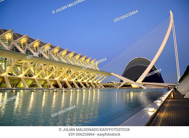 Science Museum Principe Felipe, Agora and Umbracle in the City of Arts and Sciences in Valencia, Spain
