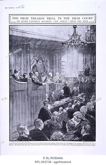 Sir Roger Casement in the dock, 'The high treason trial in the high court. Sir Roger Casement pleading not guilty from the dock'