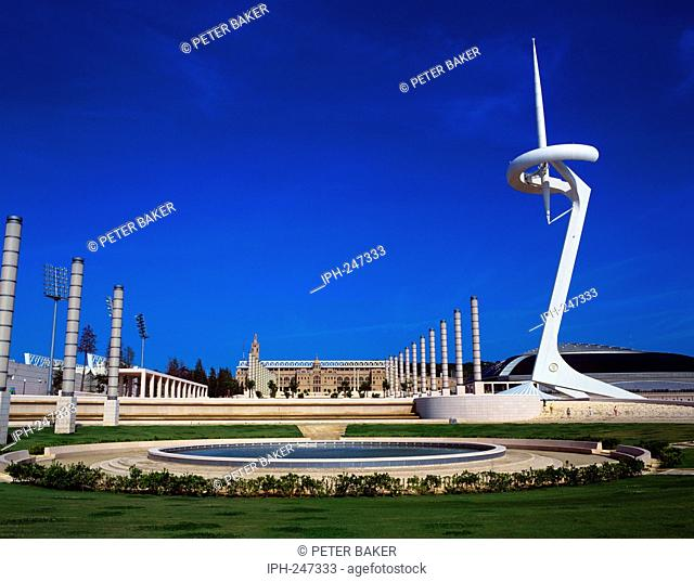 The Montjuic Communications Tower in Plaza de Europe, centre piece of the 1992 Olympics complex