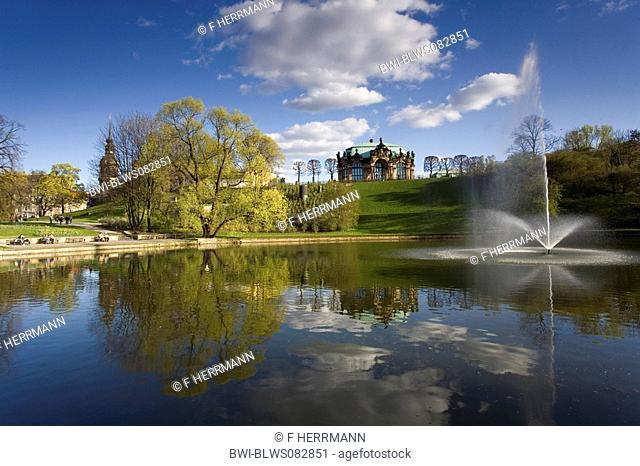 park with lake, Zwinger Palace in background, Germany, Saxony, Dresden