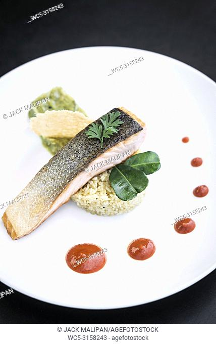 gourmet salmon fish fillet with rice guacamole and red pepper sauce meal