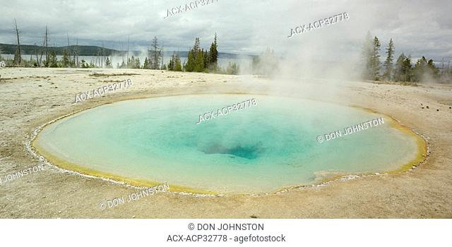 Blue Funnel Spring, West Thumb Geyser Basin. Yellowstone National Park, Wyoming, United States of America