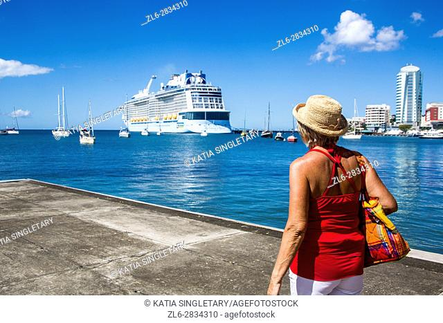 Blond caucasian senior woman going through turning gates by the water. Blond caucasian senior woman with a straw hat going to look at her big cruise boat by the...