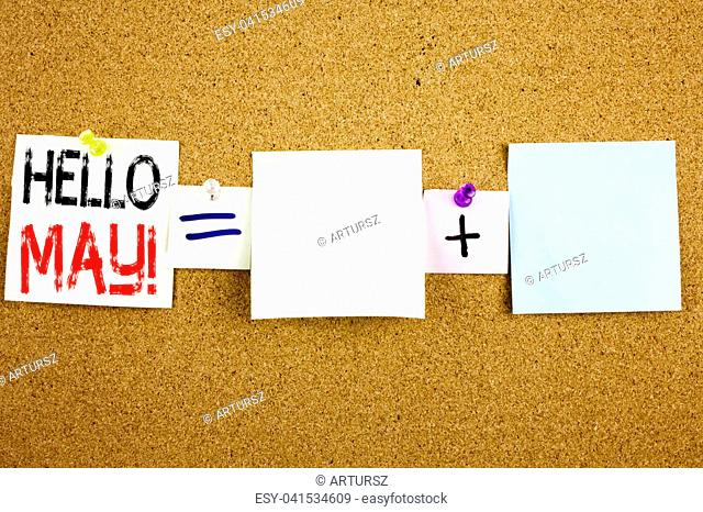 Conceptual announcement text caption inspiration showing Hello May. Spring Business concept for Criminal hacker security prevention written on Sticky Note on...