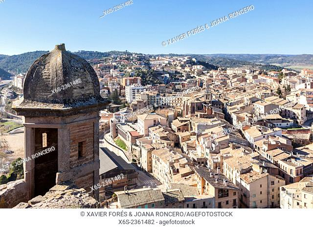 View of Cardona village from Castle and Collegiate church of San Vicente, Barcelona, Spain
