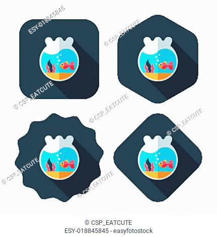Pet goldfish bowl flat icon with long shadow, eps10
