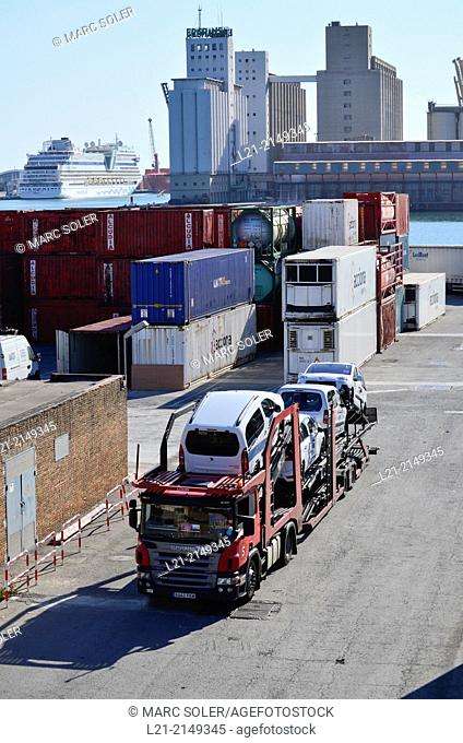 Truck loaded with cars. Harbour, Barcelona, Catalonia, Spain