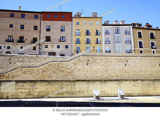 Facades of buildings near the Cathedral of Burgos, Castilla y Leon, Spain