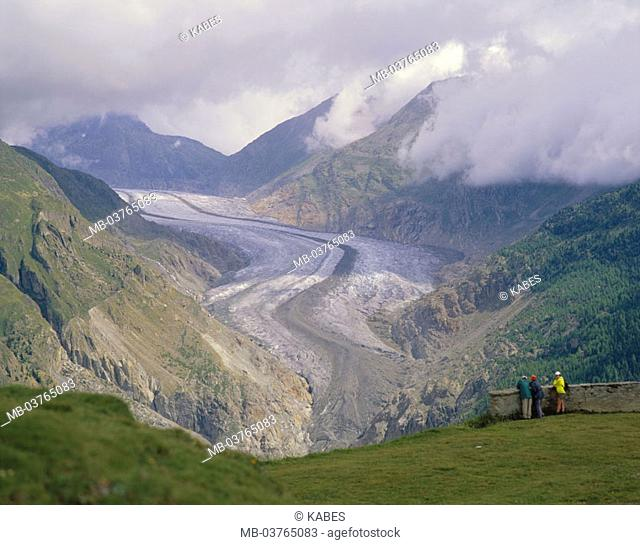 Switzerland, canton Wallis,  Aletschgletscher, highland,  Overlook, hikers, Europe, Central Europe, mountains, mountains, landscape, mountain landscape