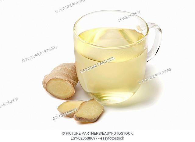Glass cup of ginger tea on white background