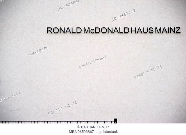 The facade and the logo of Ronald Mc Donald house in Mainz