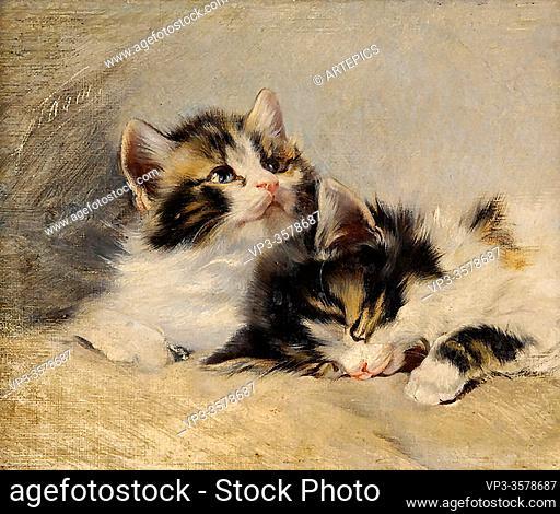 Adam II Julius - Two Kittens 2 - German School - 19th and Early 20th Century