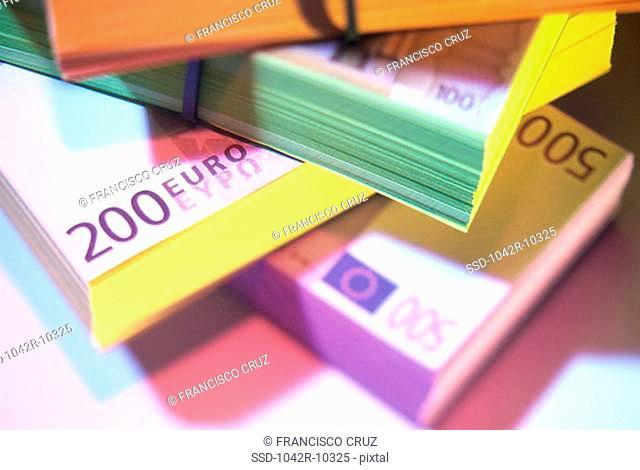 Close-up of euro banknotes